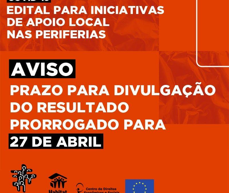 AVISO: PRAZO DO EDITAL FNRU PRORROGADO
